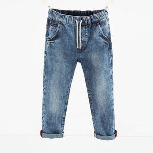 Zara little boy size 5 stretch denim w/rolled cuff